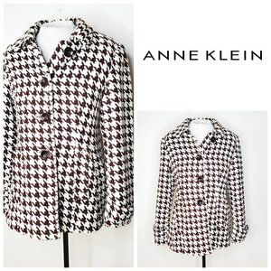 ANNE KLEIN Wool Houndstooth Classic Pea Coat